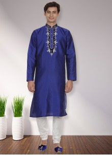 Art Dupion Silk Patchwork Kurta Pyjama in Blue
