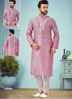Art Dupion Silk Pink Kurta Pyjama