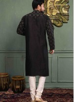 Art Dupion Silk Plain Black Kurta Pyjama