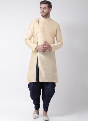 Art Dupion Silk Plain Cream Kurta Pyjama