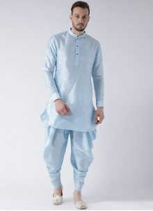 Art Dupion Silk Plain Dhoti Kurta in Aqua Blue