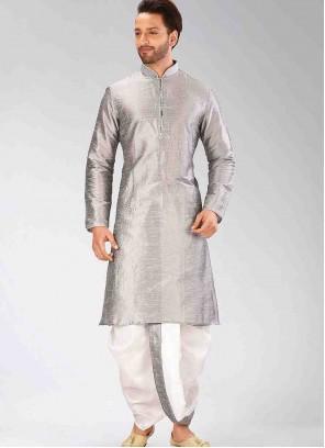 Art Dupion Silk Plain Dhoti Kurta in Grey
