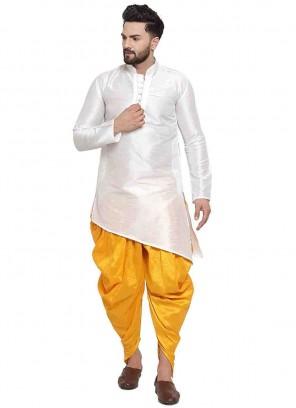 Art Dupion Silk Plain Dhoti Kurta in White