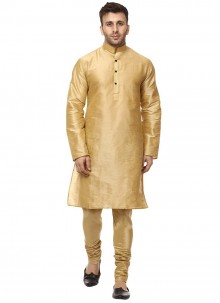 Art Dupion Silk Plain Gold Kurta Pyjama