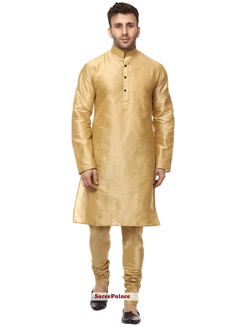 Art Dupion Silk Plain Gold Kurta Pyjama