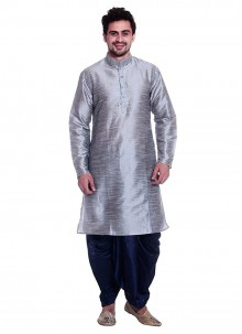 Art Dupion Silk Plain Grey Kurta Pyjama