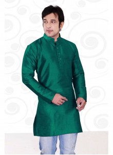Art Dupion Silk Plain Kurta in Sea Green