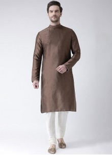 Art Dupion Silk Plain Kurta Pyjama in Brown