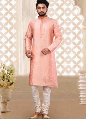 Art Dupion Silk Plain Kurta Pyjama in Pink