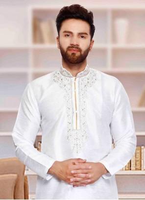 Art Dupion Silk Plain Kurta Pyjama in White