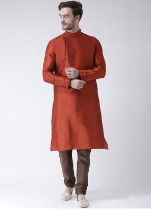 Art Dupion Silk Plain Orange Kurta Pyjama