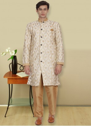 Art Dupion Silk Printed Beige Kurta Pyjama