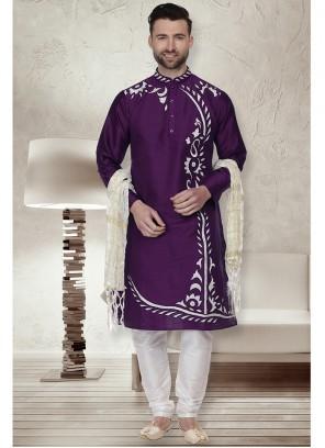 Art Dupion Silk Purple Embroidered Kurta Pyjama