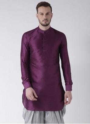 Art Dupion Silk Purple Plain Kurta