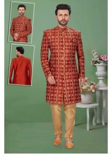 Art Dupion Silk Rust Embroidered Sherwani