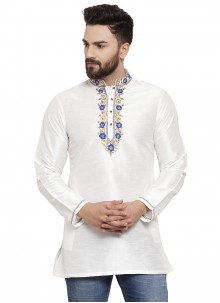 Art Dupion Silk White Embroidered Kurta
