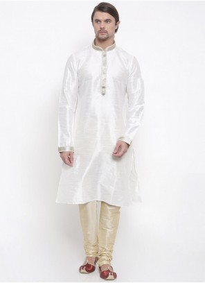 Art Dupion Silk White Kurta Pyjama