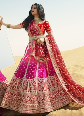 Art Silk Hot Pink A Line Lehenga Choli