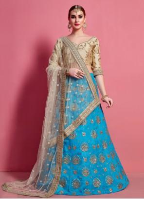 Art Silk A Line Lehenga Choli in Blue