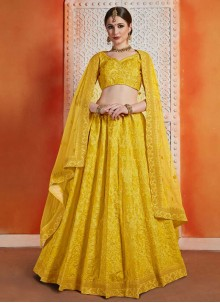 Art Silk A Line Lehenga Choli in Yellow