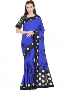 Blue Art Silk Abstract Print Casual Saree