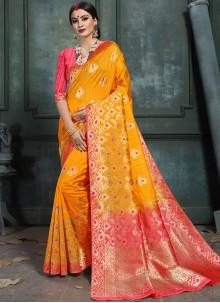 Art Silk Abstract Print Designer Saree in Orange