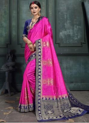 Art Silk Abstract Print Designer Saree in Pink