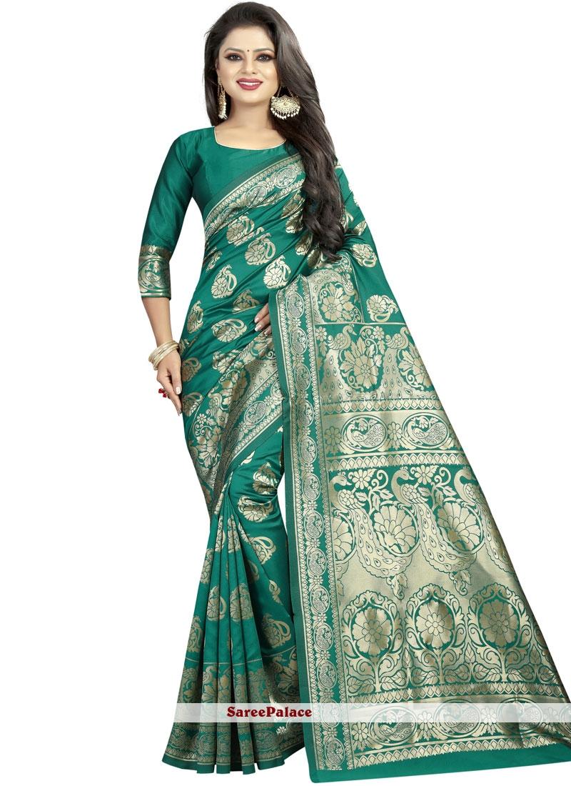 Art Silk Abstract Print Green Designer Saree