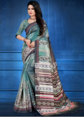 Art Silk Abstract Print Multi Colour Designer Traditional Saree