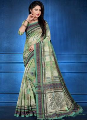 Art Silk Abstract Print Multi Colour Printed Saree