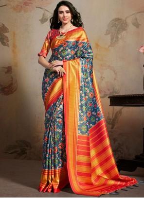 Art Silk Abstract Print Multi Colour Saree
