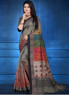 Art Silk Abstract Print Printed Saree in Multi Colour