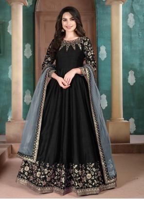 Art Silk Black Anarkali Suit