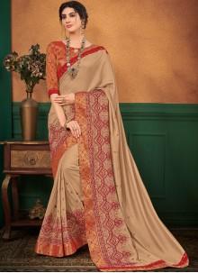 Art Silk Beige Designer Traditional Saree
