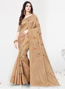 Art Silk Beige Designer Traditional Saree