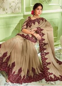 Art Silk Beige Embroidered Classic Saree
