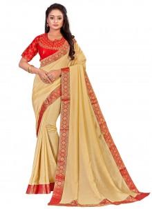 Art Silk Beige Embroidered Designer Traditional Saree