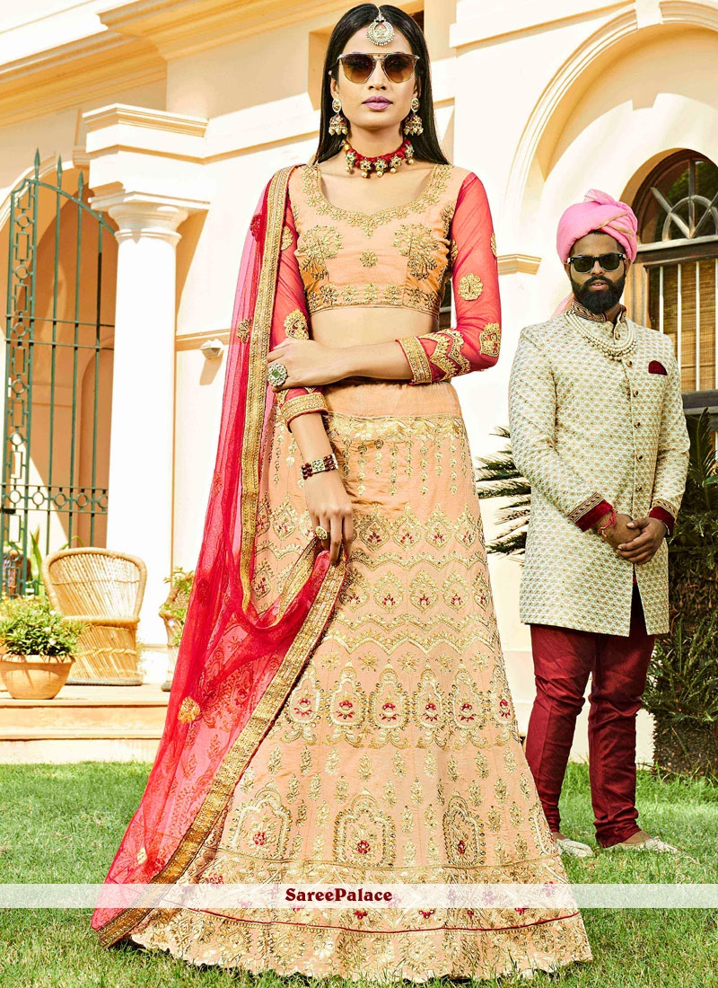 Art Silk Beige Embroidered Lehenga Choli