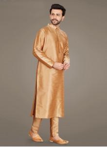 Art Silk Beige Plain Kurta Pyjama