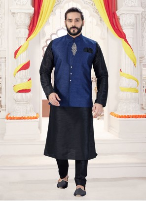Art Silk Black and Blue Kurta Payjama With Jacket