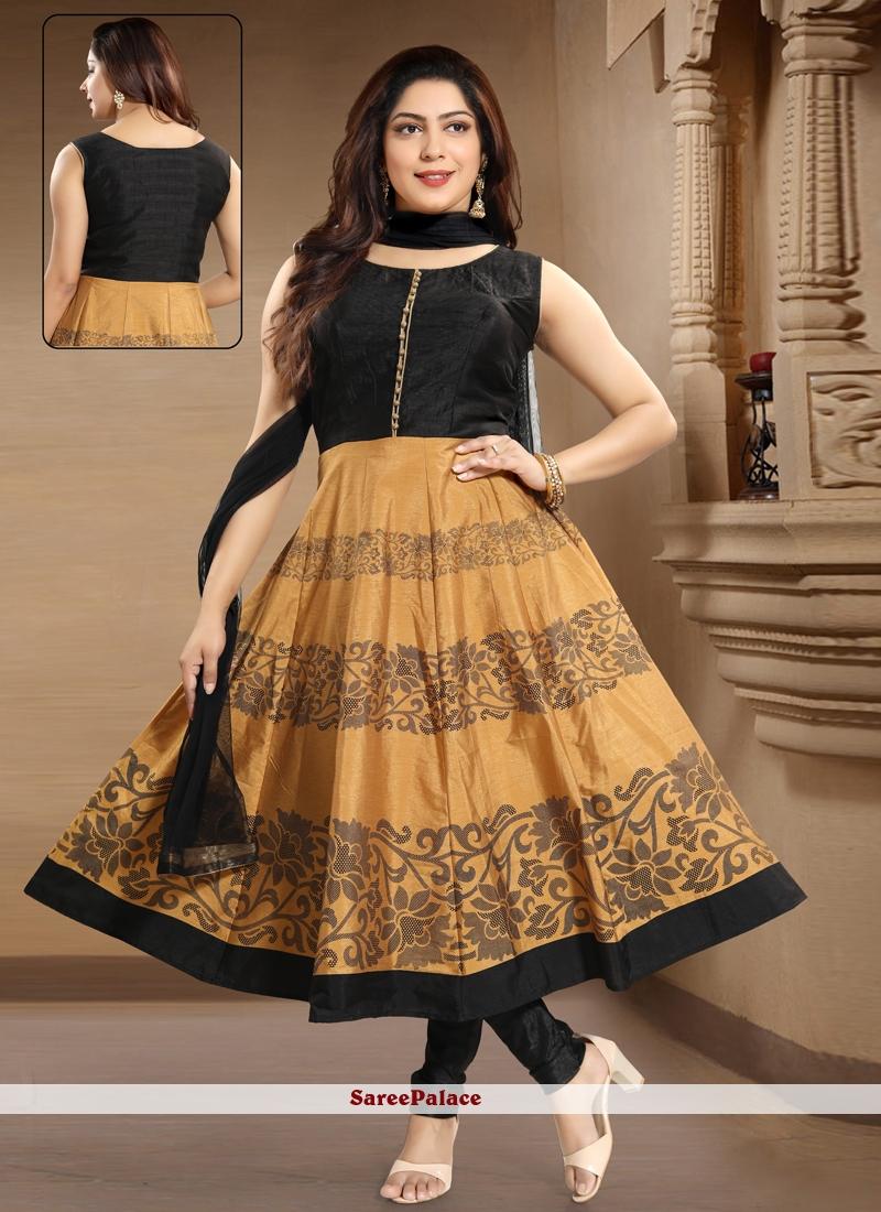 Art Silk Black and Cream Salwar Kameez