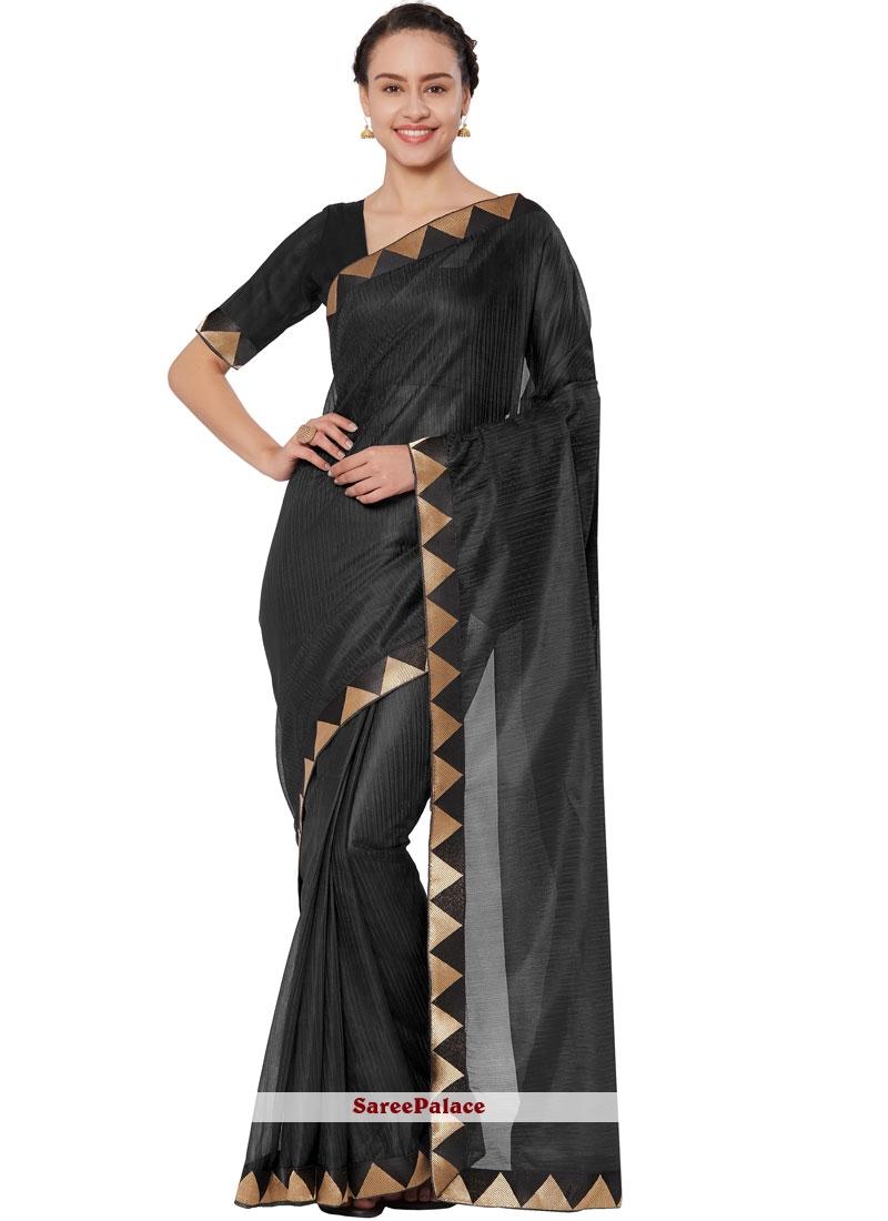 Art Silk Black Casual Saree