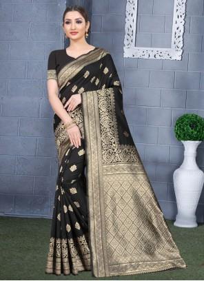 Art Silk Black Classic Saree