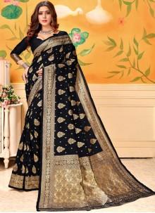 Art Silk Black Designer Traditional Saree
