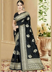 Art Silk Black Embroidered Traditional Designer Saree