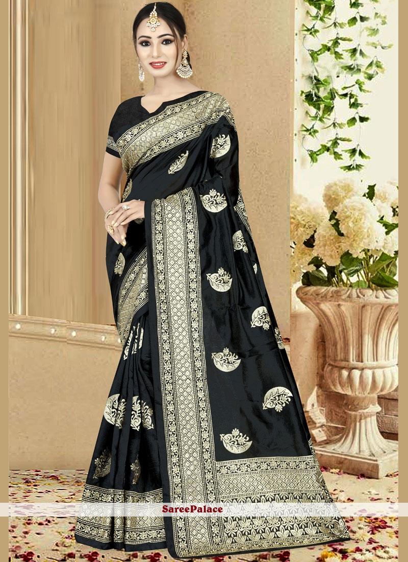 Art Silk Black Embroidered Traditional Designer Saree