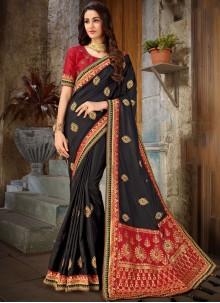 Art Silk Black Embroidered Trendy Saree