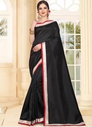 Art Silk Black Patch Border Traditional Saree