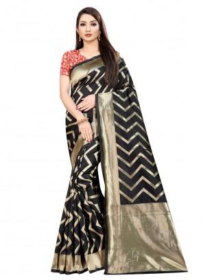 Art Silk Black Trendy Saree