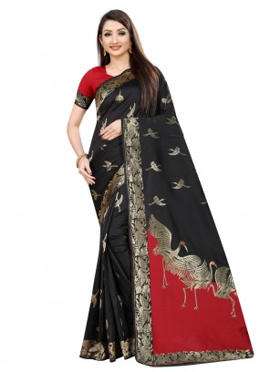 Art Silk Black Weaving Designer Saree